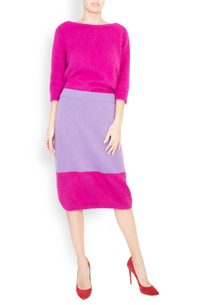 Fusta bicolora din lana angora si casmir Full Pink Argo by Andreea Buga imagine 0