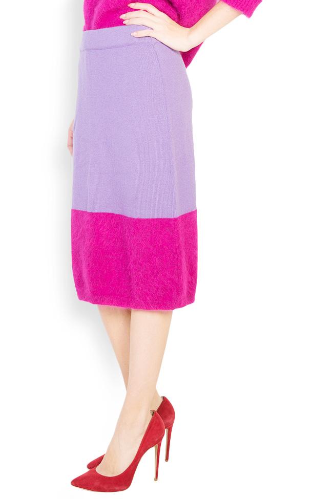 Fusta bicolora din lana angora si casmir Full Pink Argo by Andreea Buga imagine 1