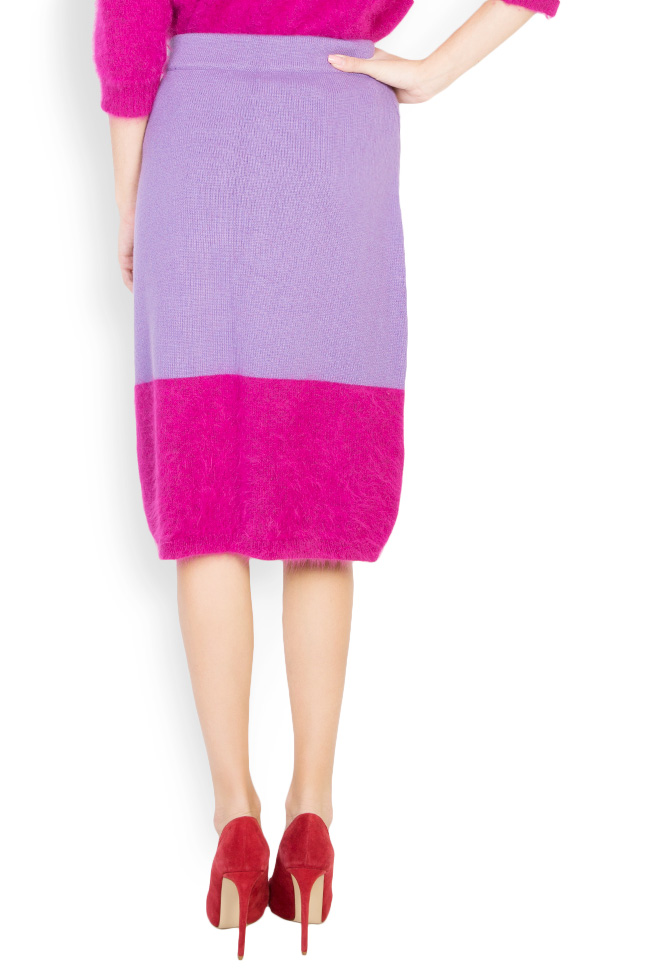 Fusta bicolora din lana angora si casmir Full Pink Argo by Andreea Buga imagine 2