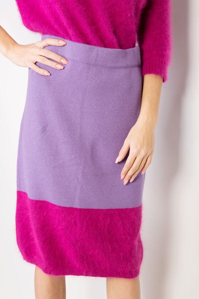 Fusta bicolora din lana angora si casmir Full Pink Argo by Andreea Buga imagine 3