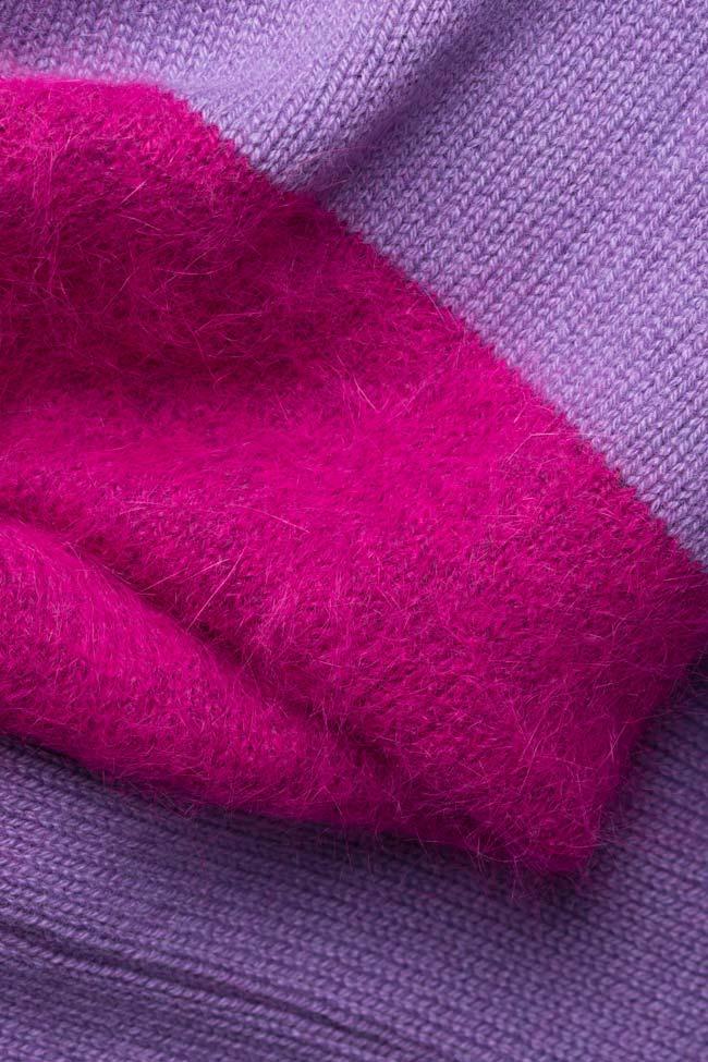 Fusta bicolora din lana angora si casmir Full Pink Argo by Andreea Buga imagine 4