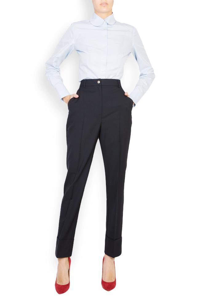 Pantaloni conici din stofa de lana cu manseta  Acob a Porter imagine 1