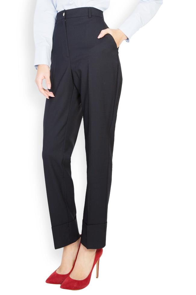 Pantaloni conici din stofa de lana cu manseta  Acob a Porter imagine 0