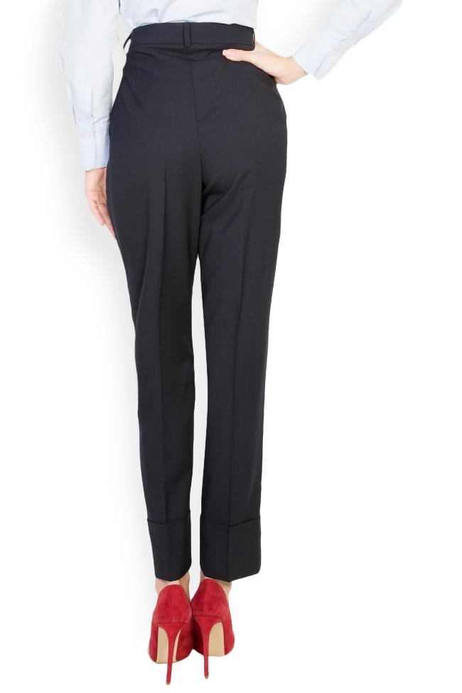 Pantaloni conici din stofa de lana cu manseta  Acob a Porter imagine 2