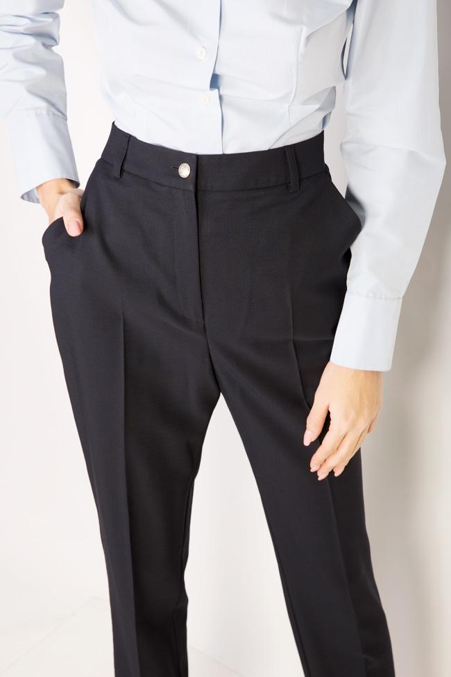 Pantaloni conici din stofa de lana cu manseta  Acob a Porter imagine 3
