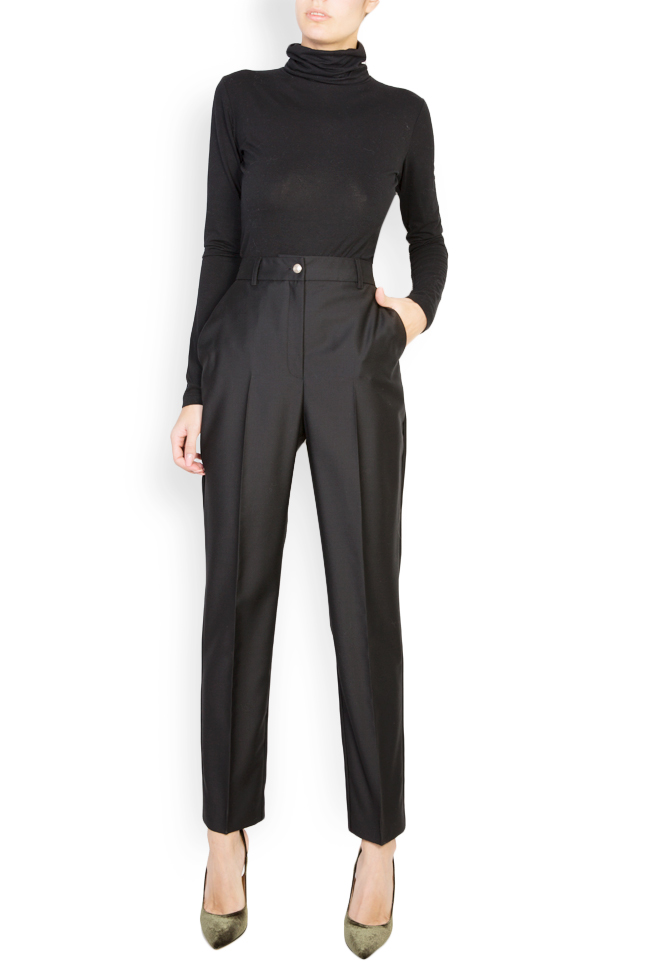 Wool tapered high waisted pants Acob a Porter image 1