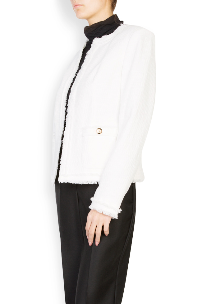 Classic cotton-blend jacket with fringes Acob a Porter image 1