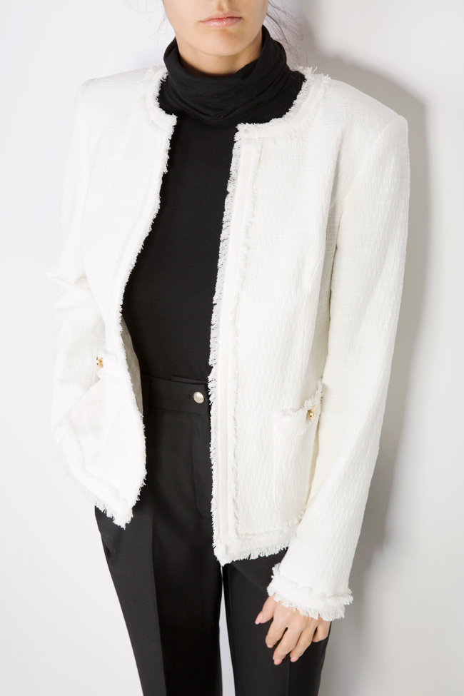 Classic cotton-blend jacket with fringes Acob a Porter image 3
