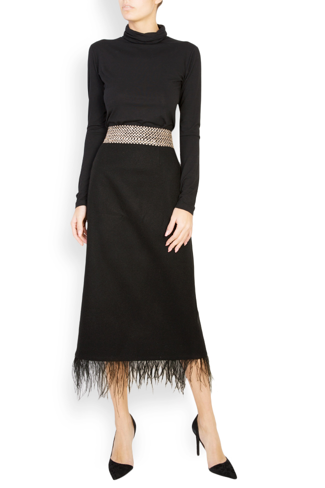 Feather-trimmed wool midi skirt Carmen Ormenisan image 0