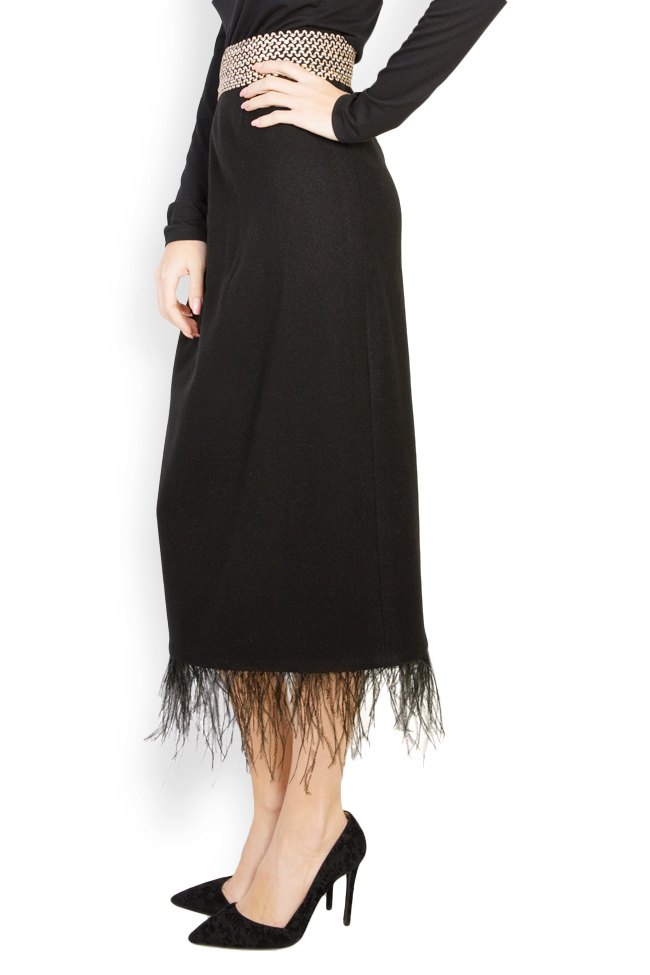 Feather-trimmed wool midi skirt Carmen Ormenisan image 1