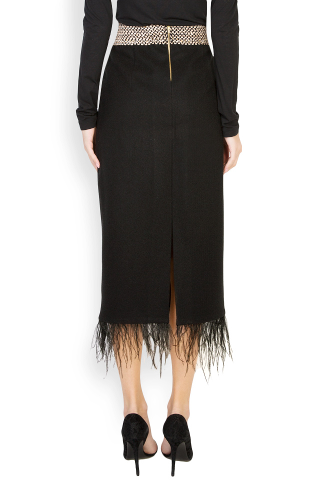 Feather-trimmed wool midi skirt Carmen Ormenisan image 2