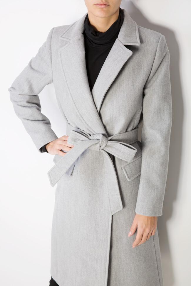 Palton din stofa cu cordon Mariana Ciceu imagine 3