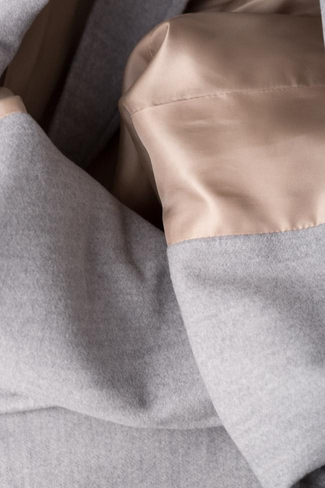 Palton din stofa cu cordon Mariana Ciceu imagine 4