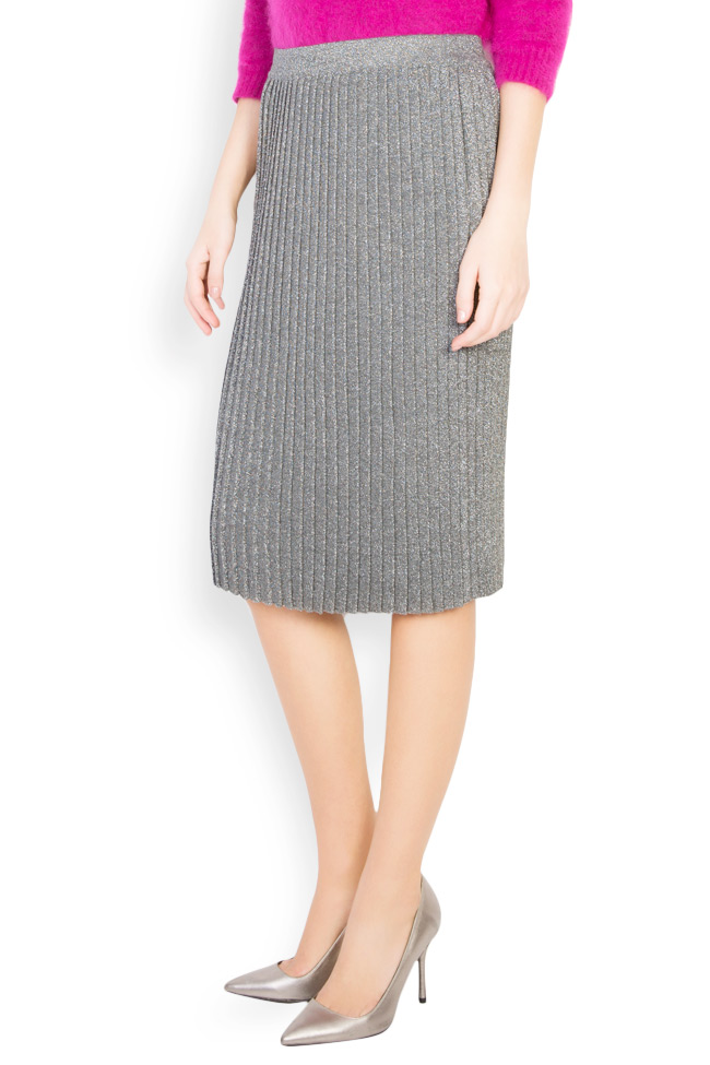 Silver pleated metallic-knit midi skirt Argo by Andreea Buga image 1