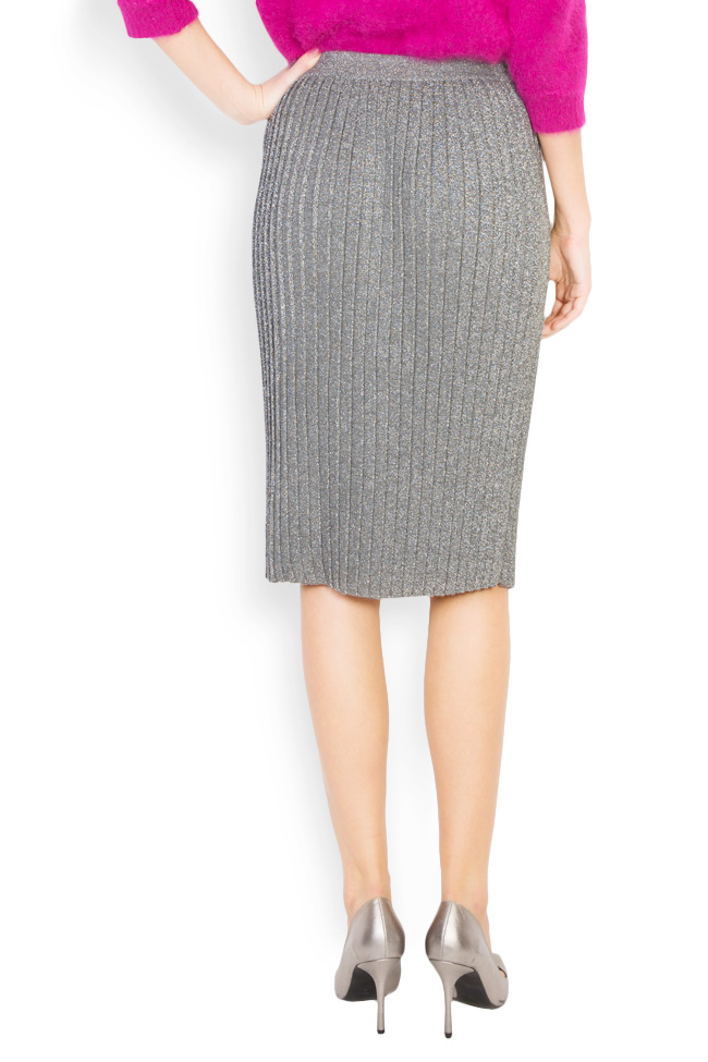 Silver pleated metallic-knit midi skirt Argo by Andreea Buga image 2