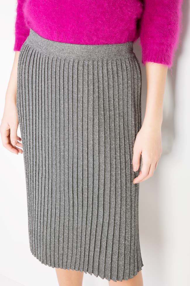 Silver pleated metallic-knit midi skirt Argo by Andreea Buga image 3