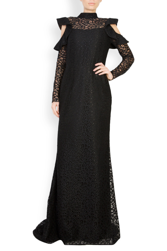 Cold-shoulder macramé lace maxi dress Carmen Ormenisan image 0