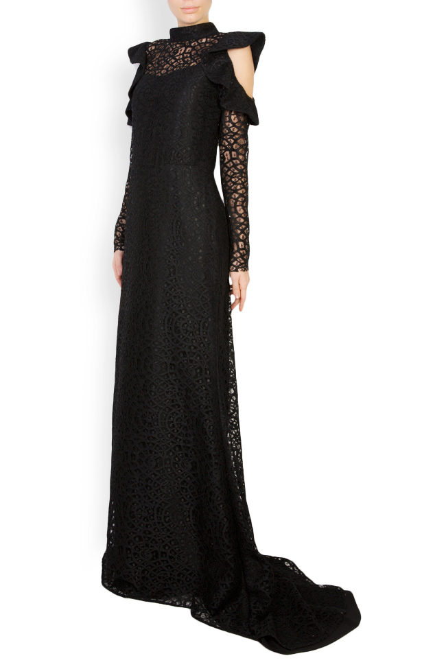 Cold-shoulder macramé lace maxi dress Carmen Ormenisan image 1