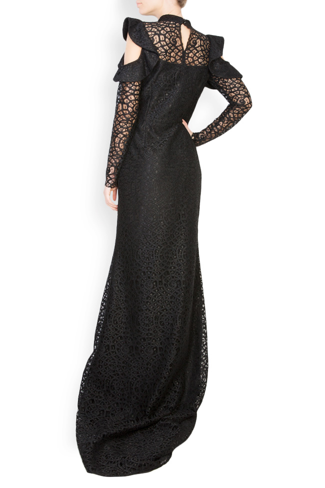 Cold-shoulder macramé lace maxi dress Carmen Ormenisan image 2