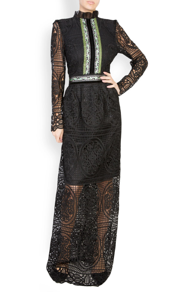 Embroidered macramé lace maxi dress Carmen Ormenisan image 0