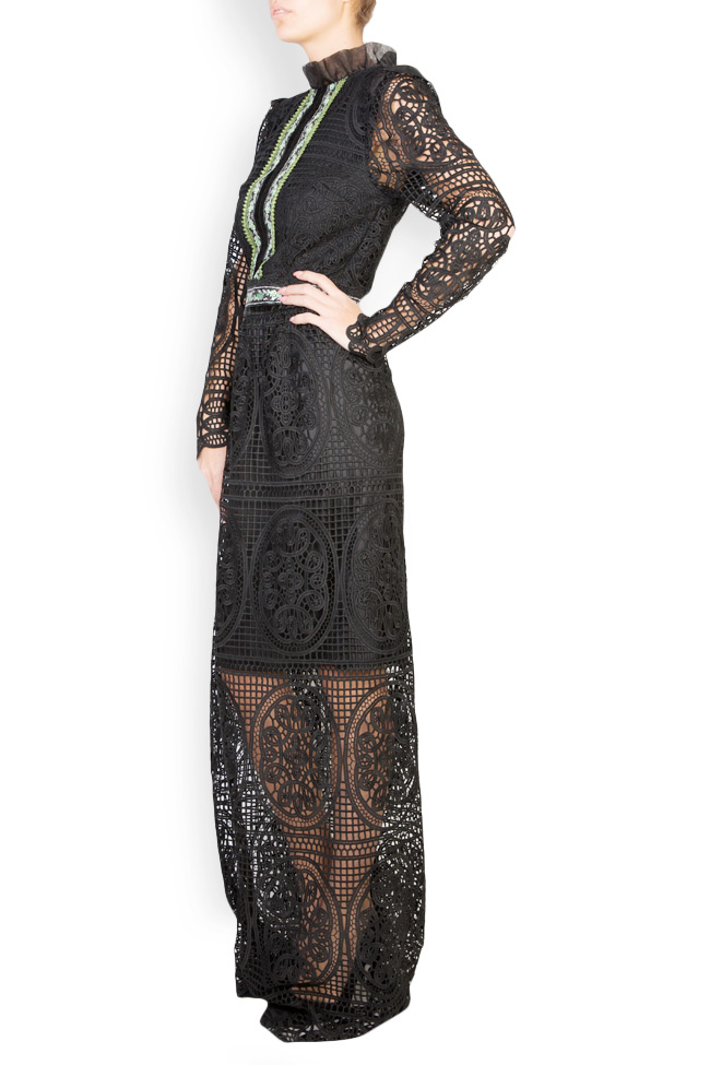 Embroidered macramé lace maxi dress Carmen Ormenisan image 1