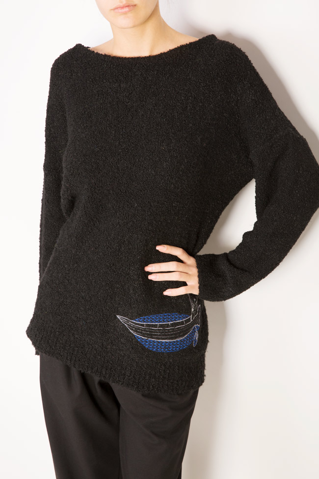 Fisherman embroidered wool-blend sweater  Argo by Andreea Buga image 3