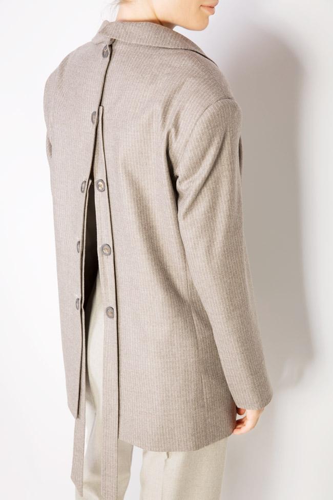 Sacou din amestec de lana cu nasturi pe spate Zenon imagine 3