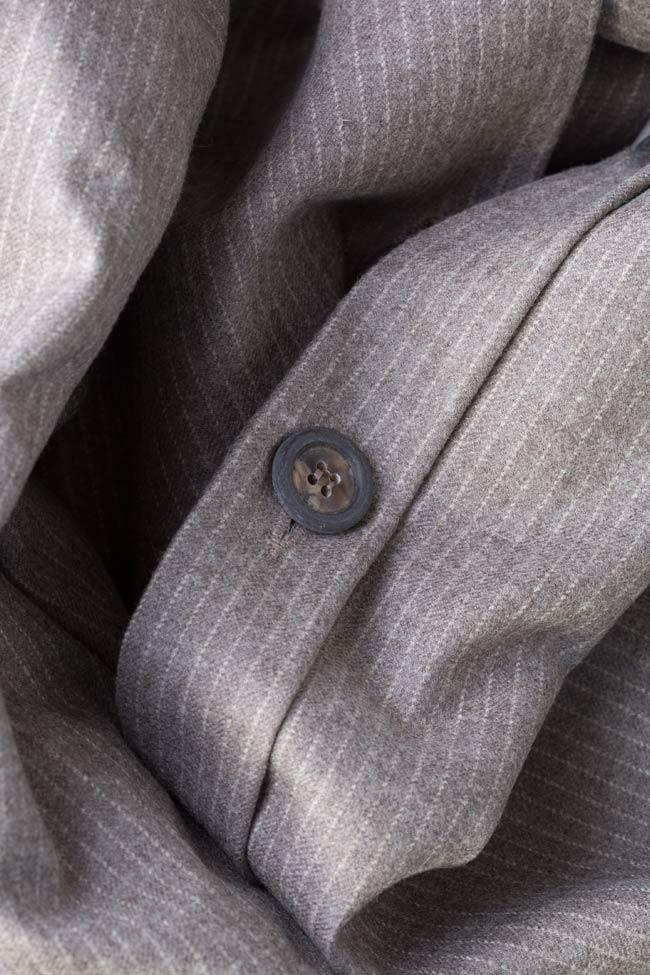 Sacou din amestec de lana cu nasturi pe spate Zenon imagine 4