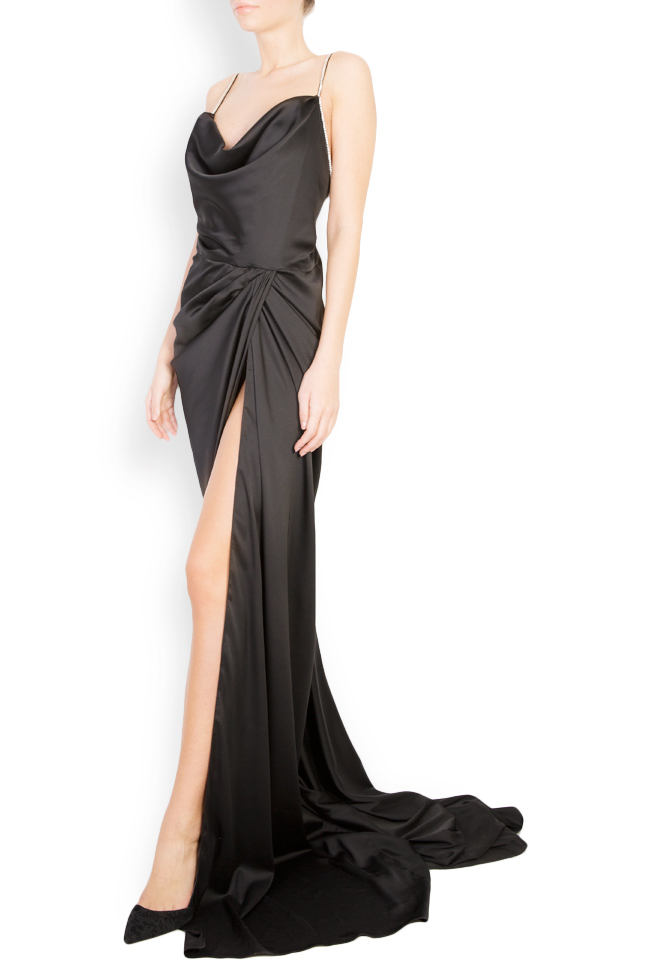 Crystal-embellished open-back satin gown Mirela Diaconu  image 1
