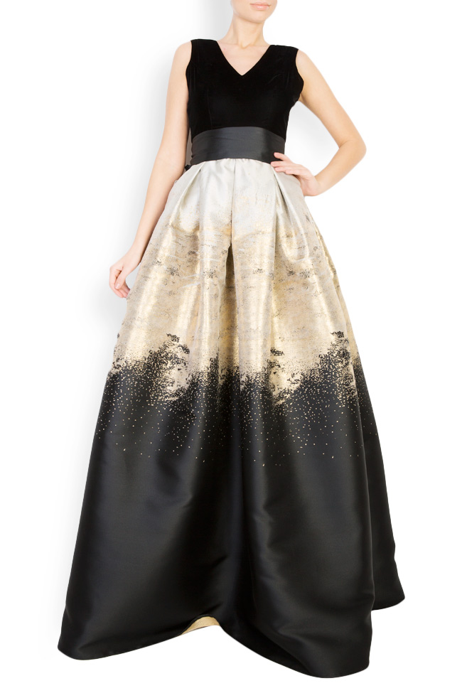 Cotton-blend velvet brocade gown Mirela Diaconu  image 0