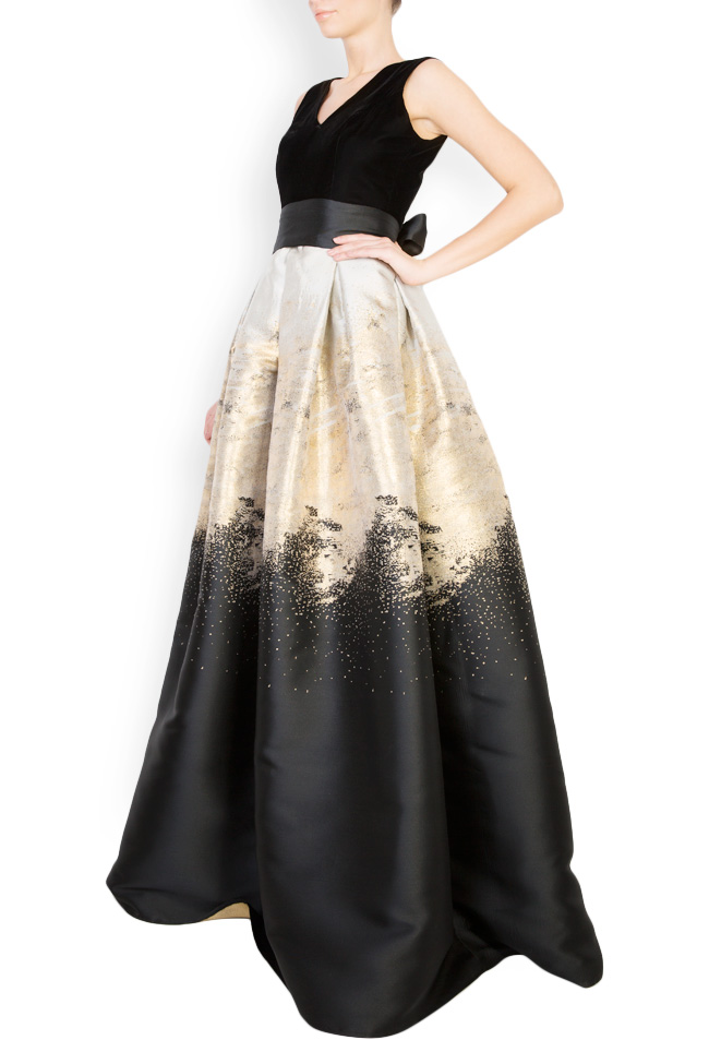 Cotton-blend velvet brocade gown Mirela Diaconu  image 1