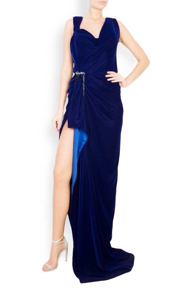 Rochie maxi din catifea cu drapaj si accesoriu  Mirela Diaconu  imagine 0