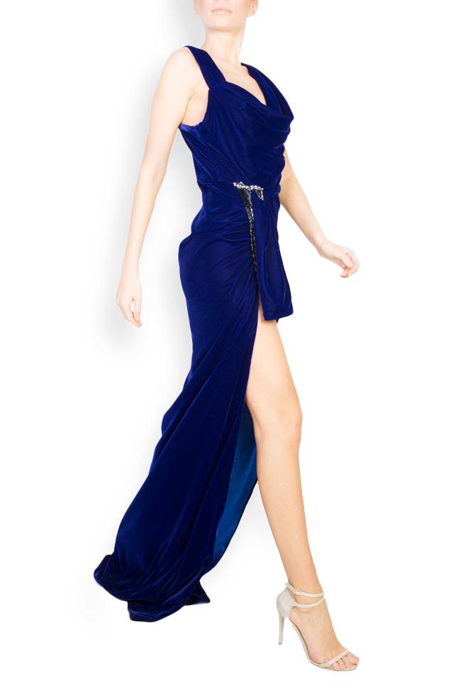 Rochie maxi din catifea cu drapaj si accesoriu  Mirela Diaconu  imagine 1