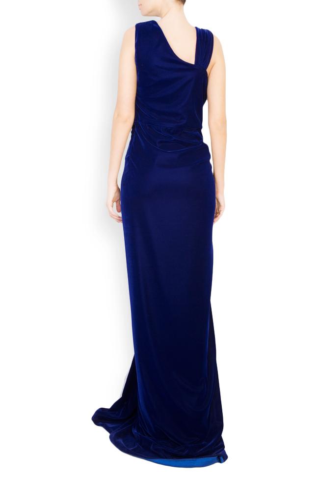 Crystal embellished draped velvet gown Mirela Diaconu  image 2