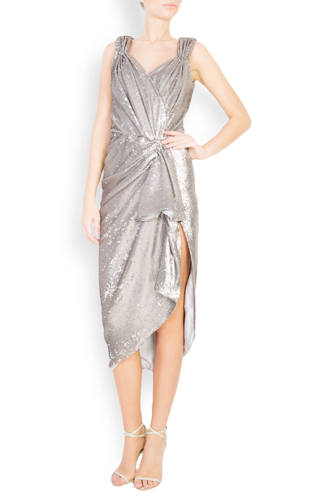 Sequined draped midi tulle dress Mirela Diaconu  image 0