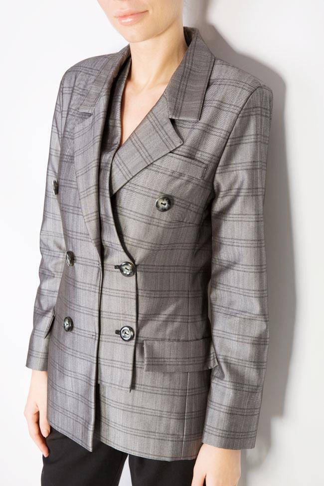 Veste à carreaux en mélange de laine Mirela Diaconu  image 3