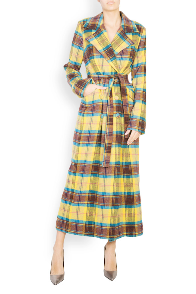 Palton din amestec de lana in carouri  Mirela Diaconu  imagine 0