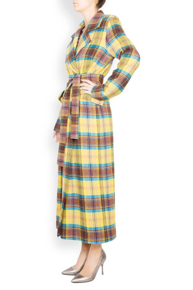 Palton din amestec de lana in carouri  Mirela Diaconu  imagine 1