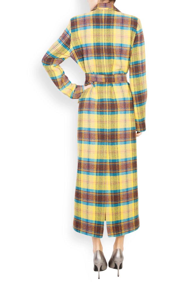 Palton din amestec de lana in carouri  Mirela Diaconu  imagine 2