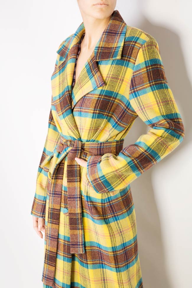 Palton din amestec de lana in carouri  Mirela Diaconu  imagine 3