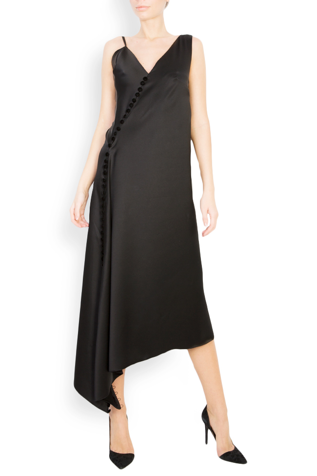 Robe asymétrique en satin avec boutons en velours Mirela Diaconu  image 0