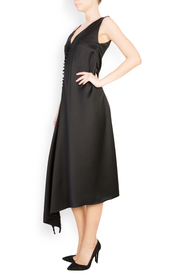 Button-embellished satin gown Mirela Diaconu  image 1