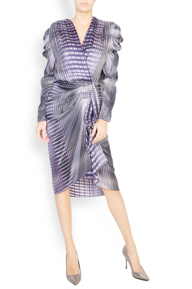 Rochie imprimata din matase cu drapaj Mirela Diaconu  imagine 0