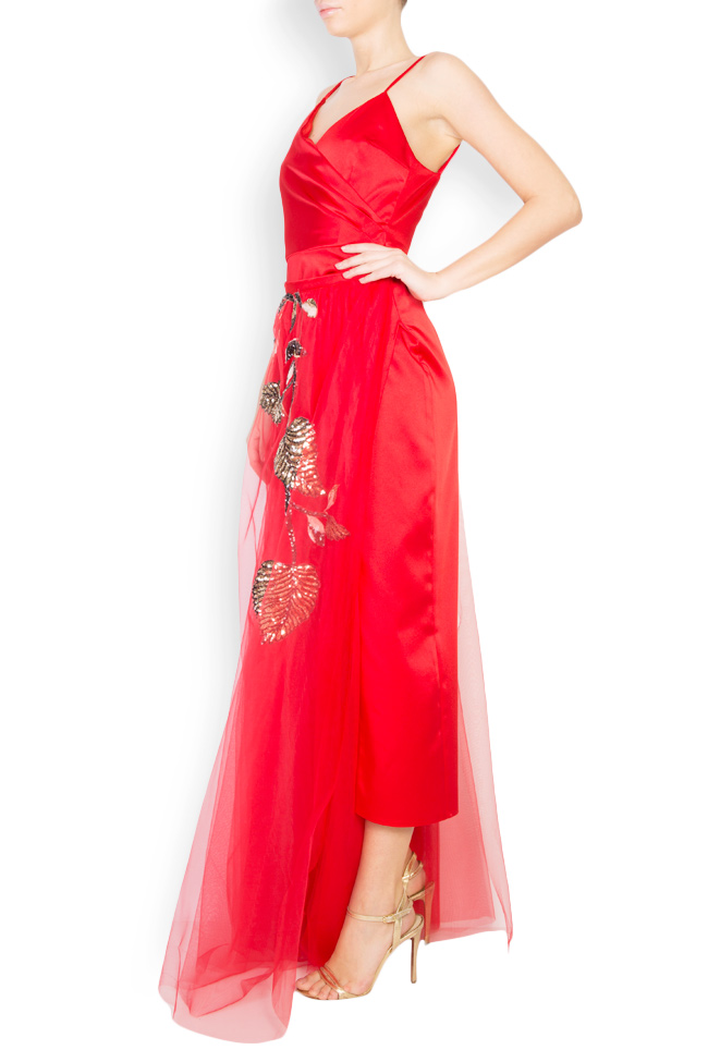 Marylin embellished tulle satin midi slip-dress Simona Semen image 1