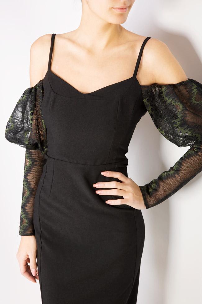 Abbetina cold-shoulder lace-paneled crepe dress  Simona Semen image 3
