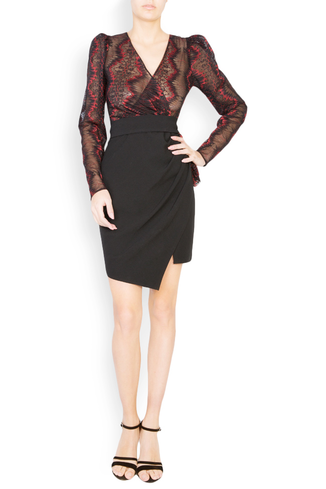 Abbetina embellished lace-trimmed mini crepe dress Simona Semen image 0
