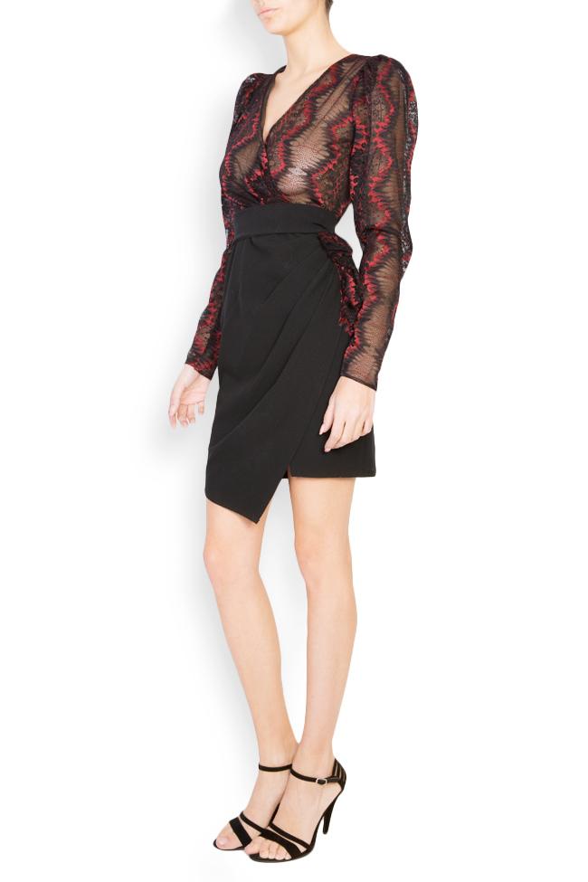 Abbetina embellished lace-trimmed mini crepe dress Simona Semen image 1