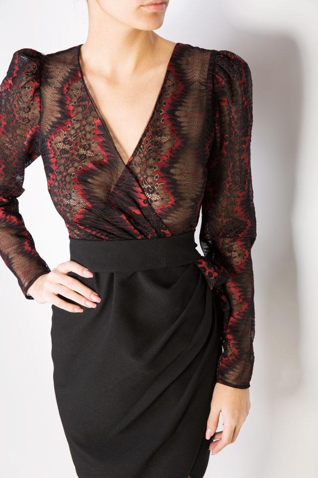 Abbetina embellished lace-trimmed mini crepe dress Simona Semen image 3