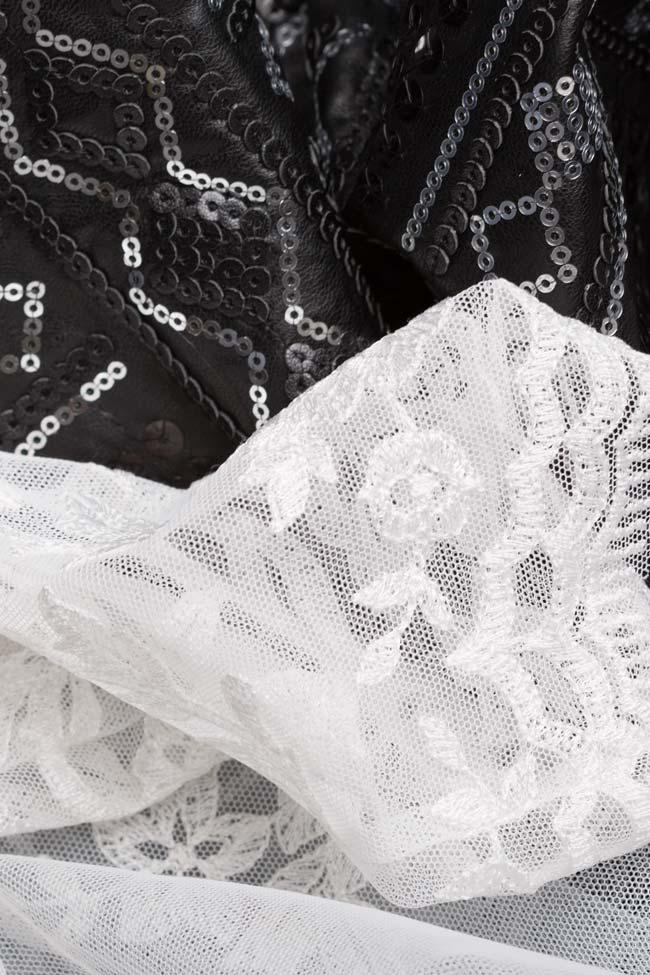 Rochie din piele ecologica si dantela din amestec de bumbac brodata cu paiete Aada Simona Semen imagine 4