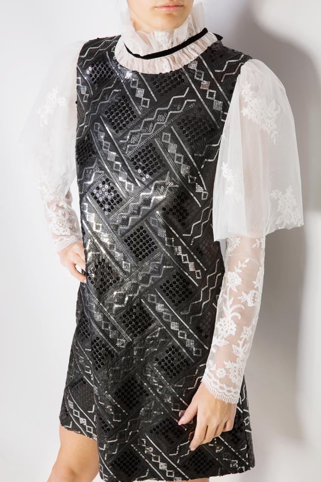 Rochie din piele ecologica si dantela din amestec de bumbac brodata cu paiete Aada Simona Semen imagine 3